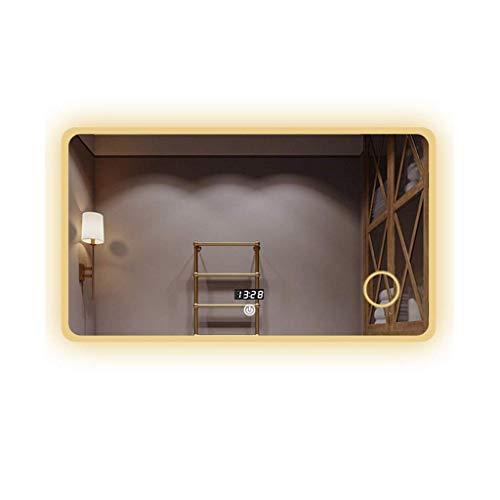 Espejos de baño Espejo de baño Rectángulo LED Espejo de Maquillaje HD Interruptor táctil Pantalla de Tiempo / Temperatura Lupa Bluetooth colocado sobre el Espejo de tocador del Fregadero