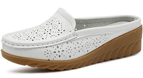 Solshine Damen Leder Keilabsatz Slippers Slingback Pantoffeln 256 Weiss 38EU
