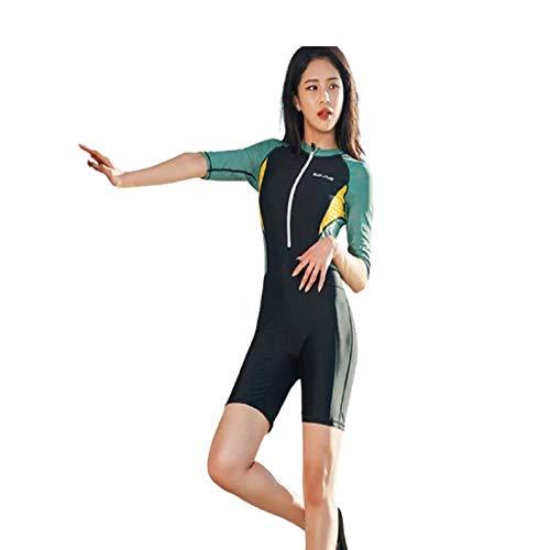 LGQ Traje de baño Conservador de Media Manga de una Pieza Traje de Neopreno Surf Protector Solar Protección UV Cálido Traje de baño Delgado de Secado rápido Mujeres,Verde,M