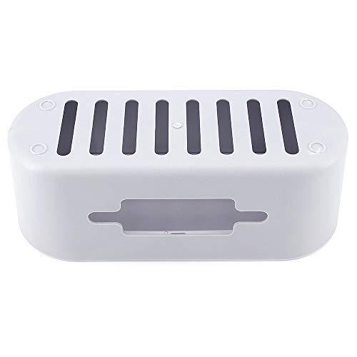ShawFly Organizador de cables Caja de almacenamiento de cables Caja para el cable de extensión de almacenamiento y el escritorio transparente