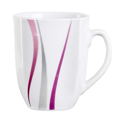 Van Well Tasse à café Melina   300-350 ml   Tasse géante   Gobelet XL   Pot à thé   Décor rayé abstrait   Gris/violet   Vaisselle élégante en porcelaine.