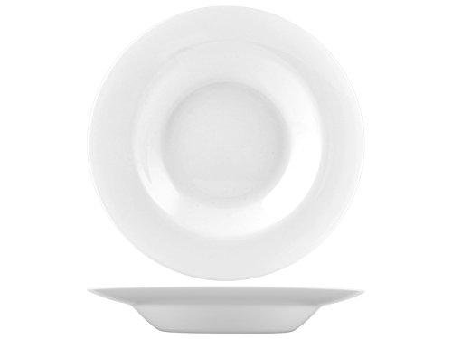 H & H Premiere platte borden, opaal, wit, 6 stuks