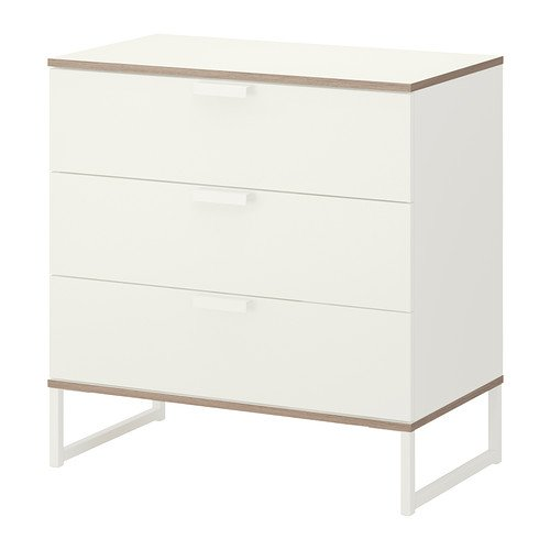 IKEA TRYSIL - Chest of 3 drawers, white, light grey - 75x77 cm