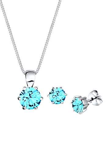 Elli Damen Schmuck Schmuckset Halskette + Ohrringe Klassisch Basic Silber 925 Swarovski® Kristalle Blau Länge 45 cm
