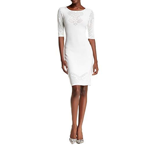 Yoana Baraschi Womens Maize Pointelle Sleeve Bodycon Dress White Large