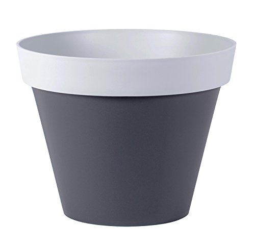 EDA plastiche Vaso Stile Bicolore 40cm, Toscana/Stile, Grigio Antracite/Grigio Cemento, 39,8x 39,8x 31cm, 13684G. Ant/G. BT SX6