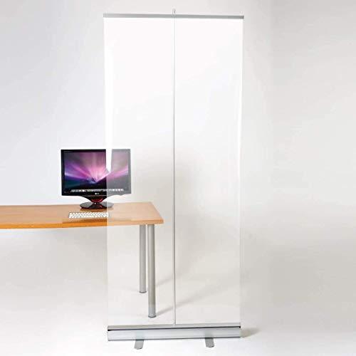 TAIDENG Banner de rodillo transparente, protector de estornudos de pie, separador de estornudos de pie, para mostradores, escritorio, recepción, oficina (tamaño: 47.2 x 78.7 cm)