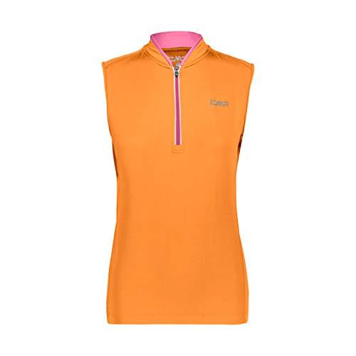 CMP T-Shirt Smanicata Stretch da Ciclismo, Donna, Solarium, 46