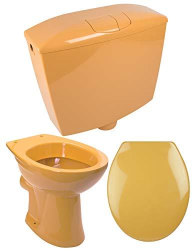 Calmwaters® - Komplettset in Curry-Gelb aus Stand-WC als Tiefspüler, WC-Sitz & Spülkasten - 99000183