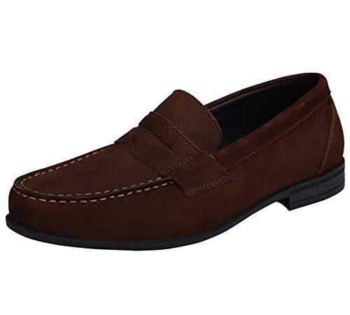 Yaer Cuero Genuino Mocasines (Loafer) para Hombre Clásico Zapatos de Barco Slip On Plano Zapatos de Conducción