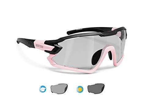 BERTONI Gafas Ciclismo Running MTB Esquí Tennis Padel Polaridas Fotocromaticas Mod. Quasar (Negro-Rosa/Fotocromaticas Polarizadas)