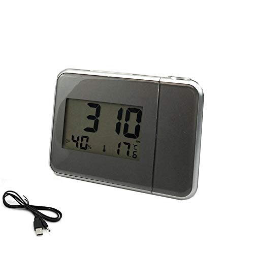 NXSP Digitale wekker, projectie, led-display, snooze, wandklok met weerstation, thermometer, datumweergave, USB-oplader