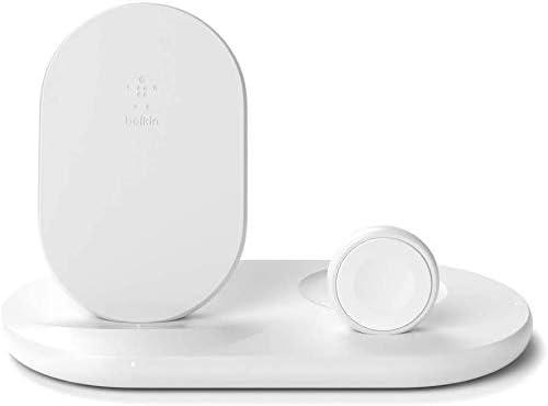 Belkin - Cargador inalámbrico 3 en 1, estación de carga de 7.5 W para iPhone, Apple Watch y AirPods, base de carga para iPhone, soporte de carga para Apple Watch, blanco
