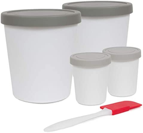 Homemade Ice Cream Containers Set Reusable BPA Free Freezer Storage with Silicone Lids in Gray product image