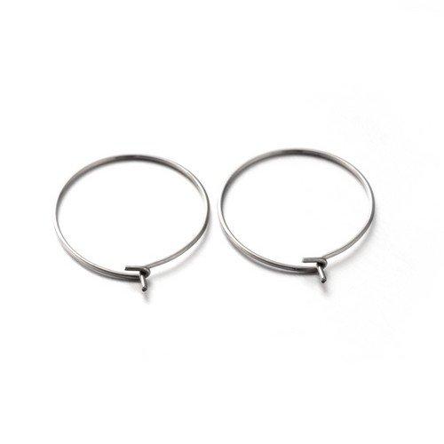 304 Edelstahl Weinglas Charme Ring Silber Rund 20 x 24mm Paket Von 10