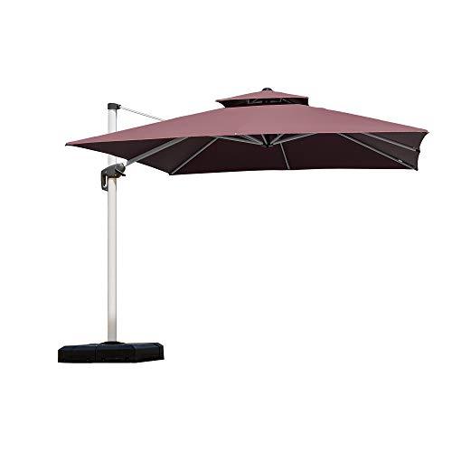 Violet Feuille 2 nd Generation carré Top 10 Pieds Parasol de terrasse Offset à suspendre Parapluie extérieur Marché Parapluie Parapluie de jardin Jardin marron