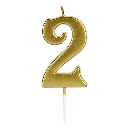 LHGOGO Gold Birthday Candles for Cake, Premium Glitter 2nd Number Candle Party Wedding Anniversary Decoration for Kids Women or Men, Number 2