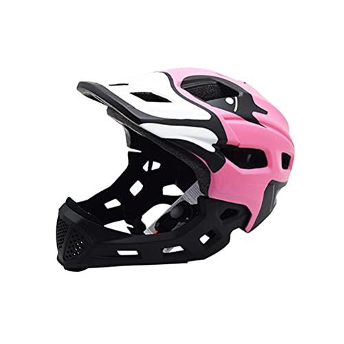 Casco de bicicleta para niños, Casco de bicicleta de montaña integral, Casco de MTB, Cascos de bicicleta para niños y niñas, Casco de patineta para montar en patines con mentón desmontable 50-56 cm,5