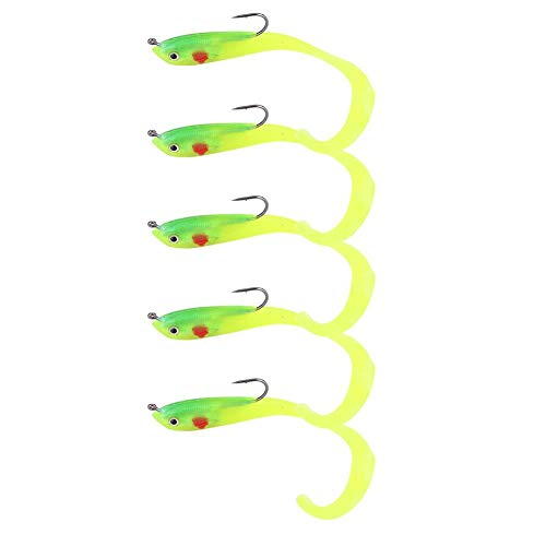 Alomejor 5PCS Fishing Lure Artificial Fake Bait Soft Lures Seabass Jig Lure for Outdoor Fishing(SO050-1)