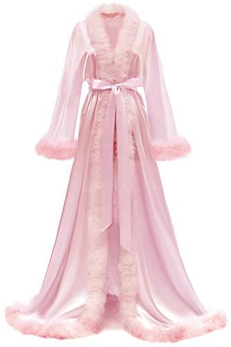 Yexinbridal Womens Feather Bridal Robe Luxury Fur Trim Silk Satin Lingerie Dressing Gown Nightgown Long Wedding Scarf Blush S/M