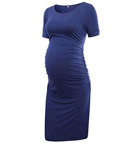 Amaeen Vestidos Verano Mujer Largo Color SóLido Ropa Premamá Casual Ropa de Maternidad Camiseta de Lactancia...