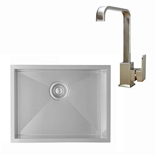 ENKI, BST008, Stainless Steel Kitchen Sink and Solid Brass Brushed Nickle Mixer Kitchen Tap Swivel Spout, Modern Kitchen Design