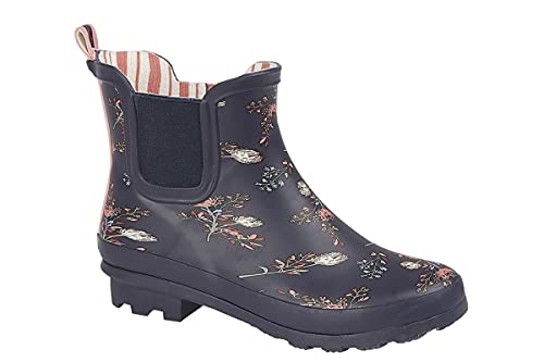 StormWells Womens Waterproof Ankle Wellington Boots with Textile Lining and Rubber Sole Navy 6 UK