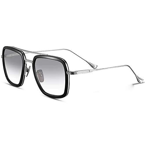 SHEEN KELLY Gafas de sol retro de gama alta Gafas Tony Stark Gafas cuadradas Montura de metal para hombres Mujeres Gafas de sol Iron Man Vuelo Mismo párrafo Transparente Lente Gradiente Gris