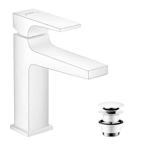 hansgrohe Wasserhahn Metropol, wassersparende Armatur mit Komfort-Höhe 110mm mit Push-Open Ablaufgarnitur, Mattweiß
