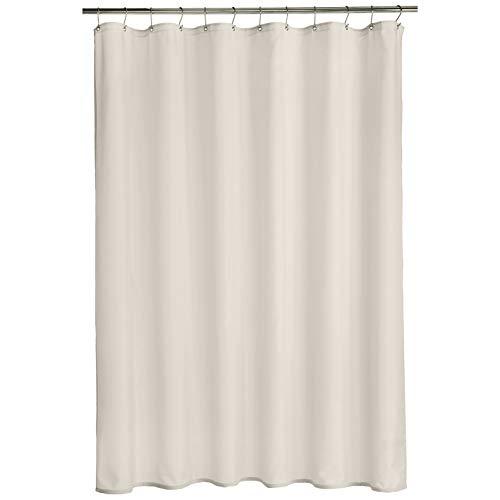 Amazon Basics - Cortina de ducha de poliéster estilo tafetán, blanco, 183 x 183 cm