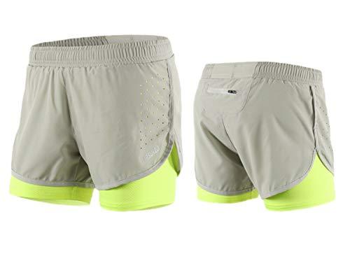 ARSUXEO - Pantalones cortos para correr de 3 puntos (con forro), secado rápido (gris) EU L/asiática XL