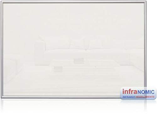 Infranomic Glasheizelement Infrarot-Heizung, weiß/Aluminium, Rahmen: Alu 10 mm