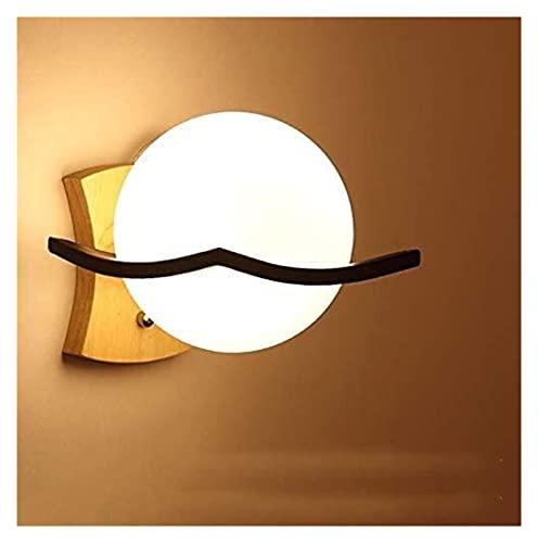 VIWIV Lámpara de Pared Lámpara de Noche Minimalista Moderna Pantalla de Vidrio Hierro Forjado Lámpara de Madera Redonda Lámpara de iluminación Espejo Faro 5-15 Metros Cuadrados Pasillo de Estudio