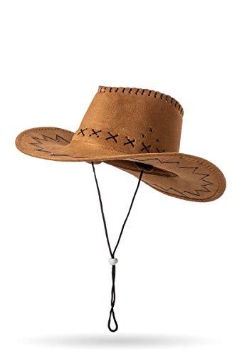 Brauner Damen Cowboyhut Trachtenhut mit Kordel und Cowgirl Fasching Ziernähte Verkleidung
