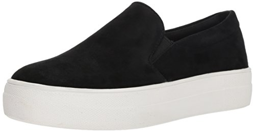 Steve Madden Women's Gills Fashion Sneaker, Black Suede, 9.5 M US