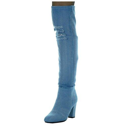 Angkorly - Damen Schuhe Oberschenkel-Boot - Reitstiefel - Kavalier - Jeans Denim - Flexible - zerrissene Blockabsatz high Heel 8.5 cm - Blau H199 T 36