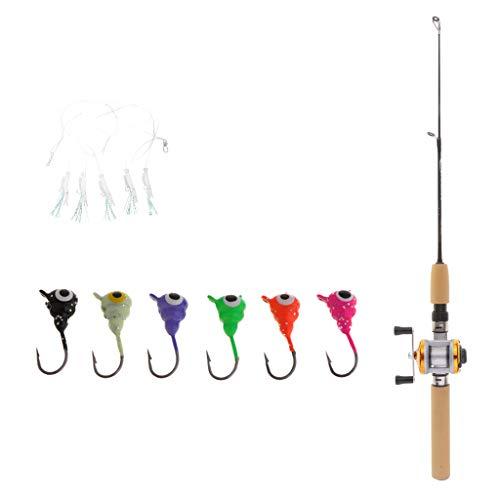 Milageto Mini Portable Ice Fishing Rod and Reel Combo 75cm Ultralight Rod & 6 Ice Jigs