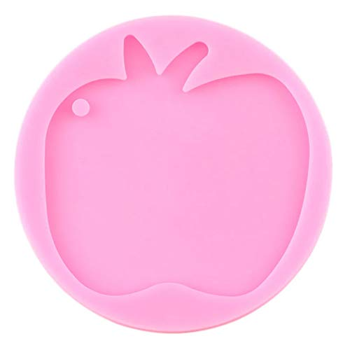 WYNYX Shiny Apple Silicone Keychains Mold Key Chain With Hole Pendant Polymer Clay Diy Making Glitter Epoxy Resin Molds