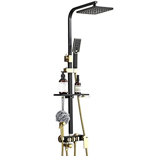 ZQG Sistema de Ducha termostática Sistema de Ducha termostático Expuesto Negro con Cabezal de Ducha de Lluvia y Altura de Ducha de Mano y ángulo Ajustable