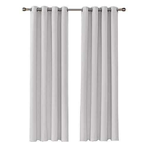 Amazon Brand - Umi Cortinas Salon Modernas Opacas Térmicas Aislantes para Habitación con Ojales 2 Paneles 140x280cm Blanco Grisáceo