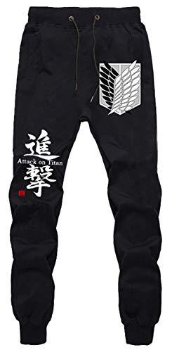 WANHONGYUE Anime Shingeki No Kyojin Attack on Titan Jogger Pantalones Deportivos Cosplay Disfraz Largos Sweat Pants Noos Trousers con Bolsillos Negro 4 S