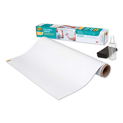 Post-it Flex Write Surface, Permanent Marker Wipes Away with Hydro Clean Technology, 3 ft x 2 ft, White Dry Erase Whiteboard Film (FWS3X2)
