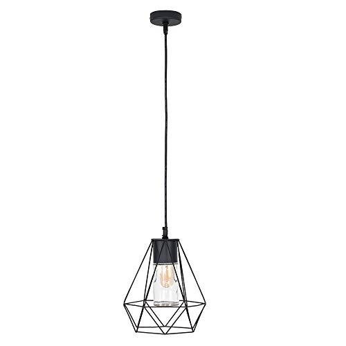 MiniSun - zwarte, IP44-gecertificeerde lamp in retrostijl 'Diablo' met een zwarte metalen mand met glanzende afwerking en een cilindervormige kap van helder glas