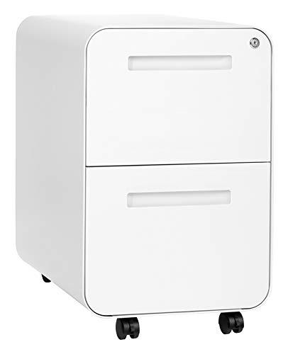 Stockpile 2-Drawer Modern Mobile File Cabinet, Commercial-Grade (White)