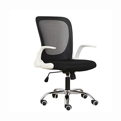 Asiento de trabajo negro, Hogar silla de trabajo giratoria de oficina de malla confort moderno negro con los brazos y regulable en altura adecuados for ordenador de trabajo y reuniones y recepción Pla