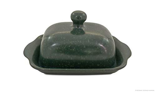Bunzlauer Butterdose für 250g, H = 10,5 cm, Ø = 20,0 cm Dekor ZIELON
