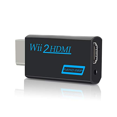 Wii a HDMI Converter, Zeato Wii a HDMI Adattatore, Wii a HDMI 1080P 720P uscita connettore video e audio da 3,5 mm, supporta tutte le modalità di visualizzazione Wii (nero)