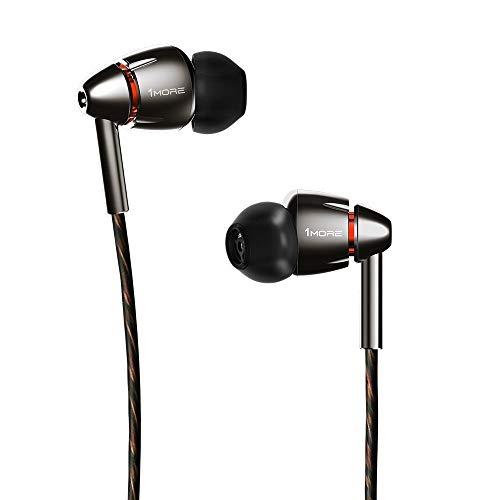 1MORE Quad Driver Écouteurs intra-auriculaires Casque haute fidélité haute résolution avec basses chaudes, haute résolution, micro et télécommande en ligne E1010 Argent