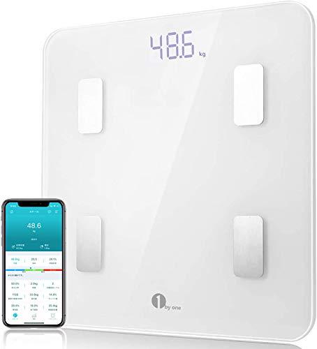 1byone 体重計 体組成計 体脂肪計 薄型 高精度 Bluetooth対応 ボディスケール 体重/体脂肪率/体水分率/骨量/基礎代謝量/BMIなど14種類のデータを測定 健康管理 iOS/Android対応 スマホでデータ管理 日本語説明書付き A-JP15 ホワイト