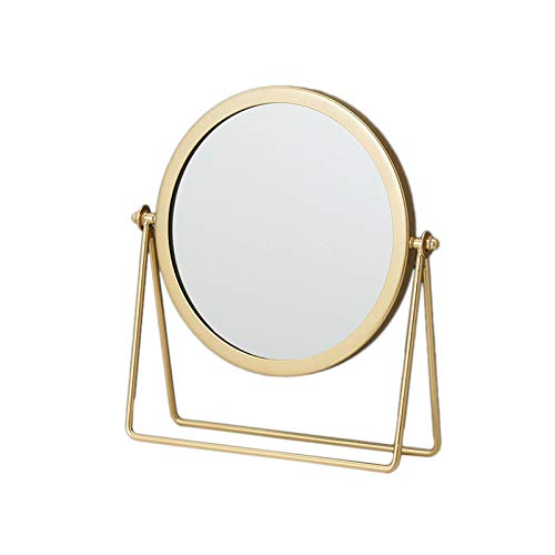 Moligh doll MéTal Miroir DéCoratif Dame Bureau Miroir de Maquillage 360 ℃ Forme Ronde Miroir de Courtoisie Miroirs RéTro-éClairéS (Or)